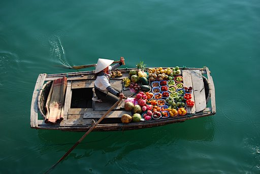 floating supermarket in Ha Long Bay